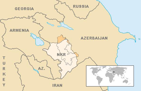 Náhorný Karabach na mape